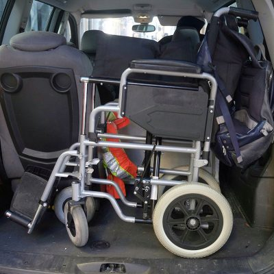 Wheelchair in back of a car