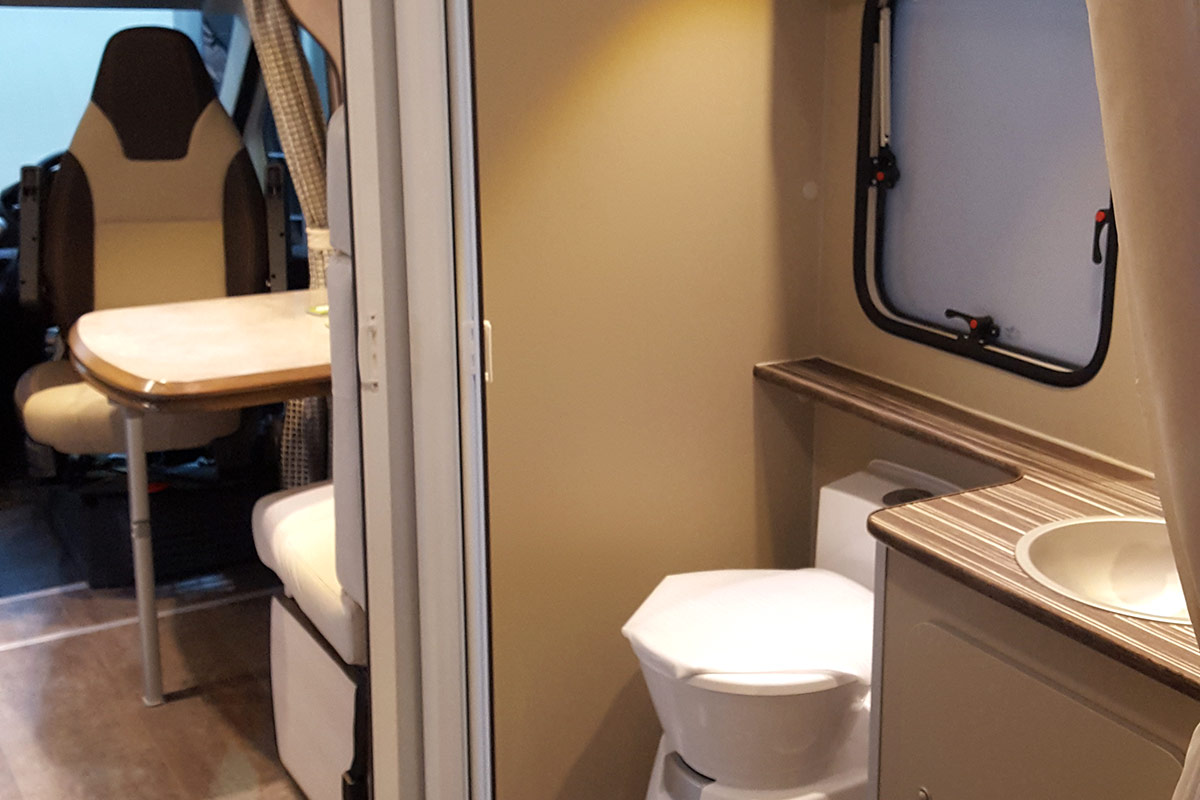View of the WC sink and seating in the Liberation Motorhome