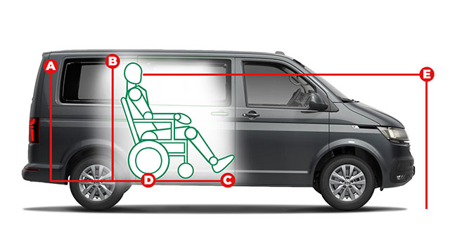 Volkswagen Caravelle Rear Lift Access Dimensions