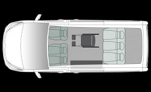 Renault Trafic Side Entry LWB Seating Plan