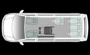 Volkswagen Caravelle Side Entry LWB Seating Plan