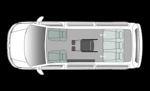Volkswagen Caravelle Side Entry SWB Seating Plan