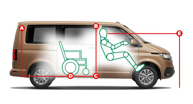 Volkswagen Caravelle Internal Transfer Access Dimensions